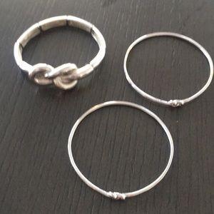 Silver Love Knot Bangel Set Bracelets Costume